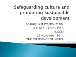 Safeguarding culture and promoting Sustainable