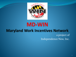 MD-WIN Maryland Work Incentives Network