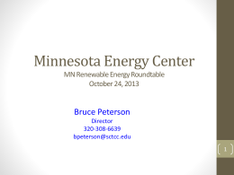 Minnesota Energy Center 2013 Fall CAO/CSAO/Dean