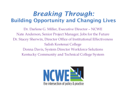WDI Power Point Slides - National Council for Workforce Education