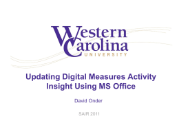 Updating Digital Measures Activity Insight Using MS Office