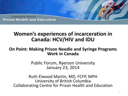 Women`s experiences of incarceration in Canada
