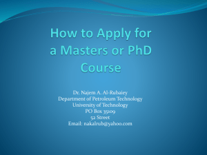 How to Apply for a Masters or PhD