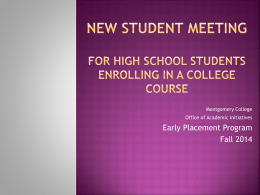 New Student Meeting Presentation