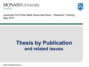 Thesis by Publication and related issues