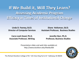 If We Build it, Will They Learn? Assessing Academic Program