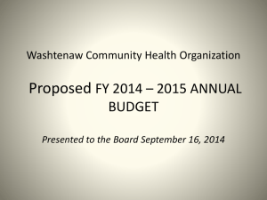 FY 2015 Presentation - Washtenaw Community Health Organization