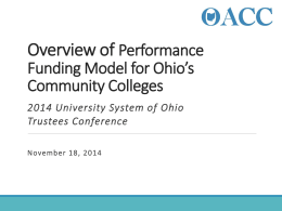 Overview of Performance Funding Model for Ohio`s Community