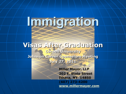 Visas After Graduation - Cornell Institute for Public Affairs