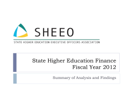 State Higher Education Finance Fiscal Year 2012
