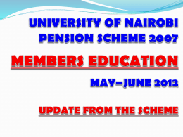 Chairman`s Speech 2012 - The University of Nairobi Pension