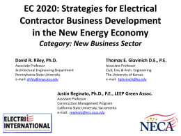 EC 2020: Strategies for Electrical Contractor Business Development