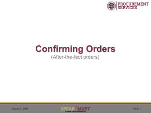 Confirming Orders - Procurement Services