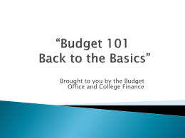 Budget 101 - Back to the Basics