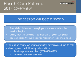 Morris & Reynolds Insurance November 2013 Health Care Reform