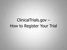 Overview of Clinicaltrials.gov