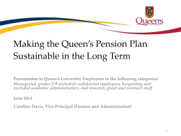 Queen`s Pension Plan Sustainability Presentation