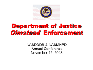 USDOJ Current Trends in Olmstead Enforcement by Mary Bohan