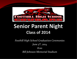 Senior Night - Foothill High School