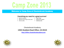 Welcome to Camp Zone at Chesterbrook Academy