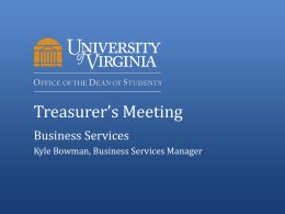 Treasurer*s Meeting - UVA Student Council