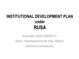 RUSA-IDP - Osmania University