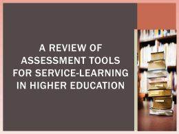 A Review of Assessment Tools for Service