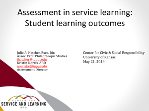 Assessment in service learning - Center for Civic and Social