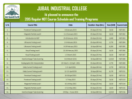 JUBAIL INDUSTRIAL COLLEGE is pleased to announce the 2015