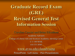 Graduate Record Exam GRE