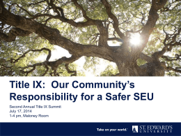 Title IX Presentation for Faculty/Staff Summit 2014