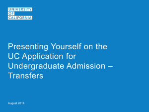 Presenting Yourself on the UC Application - Transfer