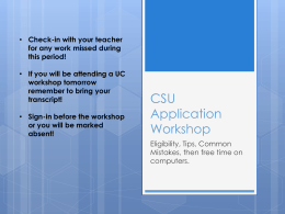 CSU Application Workshop 2014 - San Marcos Unified School District