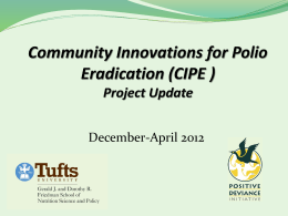 Project Update - Community Innovations for Polio Eradication (CIPE)