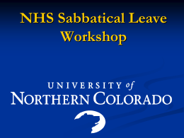 NHS Sabbatical Leave Workshop PowerPoint