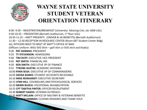 Wayne State University Veteran Specific Orientation