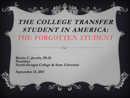The College Transfer Student in America