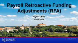 Retroactive Funding Adjustments (RFA)