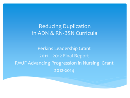 Reducing Duplication in ADN & RN-BSN Curricula