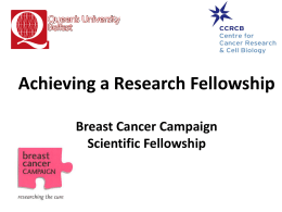 2007 to 2012: Breast Cancer Campaign Scientific Fellowship