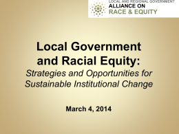 Webinar PowerPoint: Racial Equity in Our Cities
