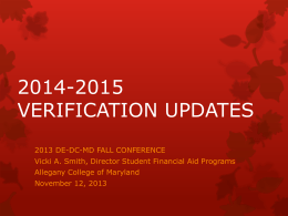 2014-2015 Verification Updates - DE-DC-MD