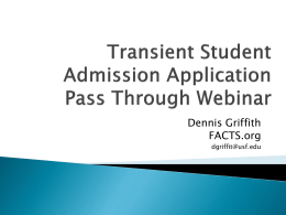 Transient Student Admission Application FACTS