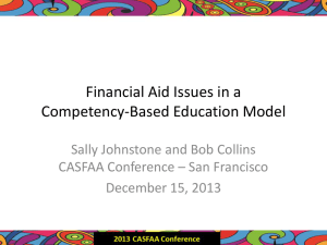 Financial Aid issues in a Competency-Based Education