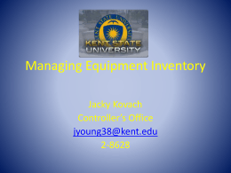 Managing Equipment Inventory Kent State University
