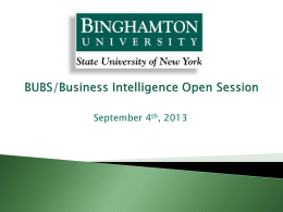 BUBS/Business Intelligence Open Session