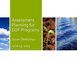 Assessment Planning for EOF Programs
