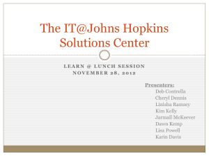 The IT@Johns Hopkins Solutions Center