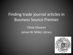 Finding trade journal articles in Business Source Premier