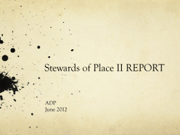 Stewards of Place II Study: Preliminary Report